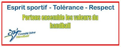 Valeurs Comité de l'Isère HandBall