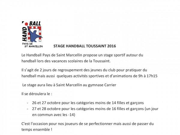 Stage HandBall Toussaint 2016